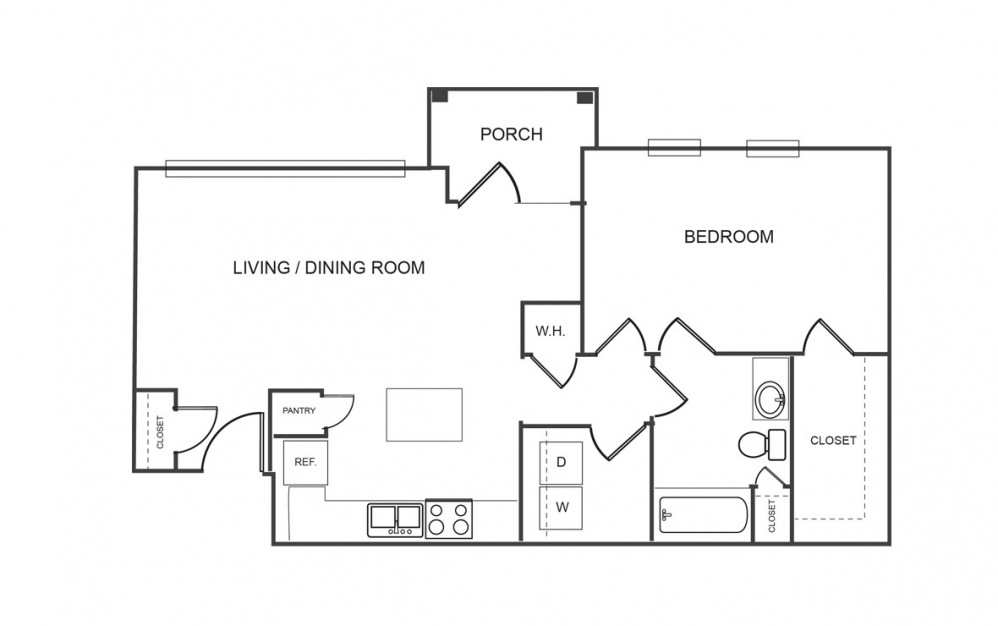 A1 - 1 bedroom floorplan layout with 1 bath and 854 square feet (1st floor 2D)