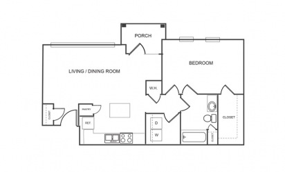 A1 - 1 bedroom floorplan layout with 1 bath and 854 square feet