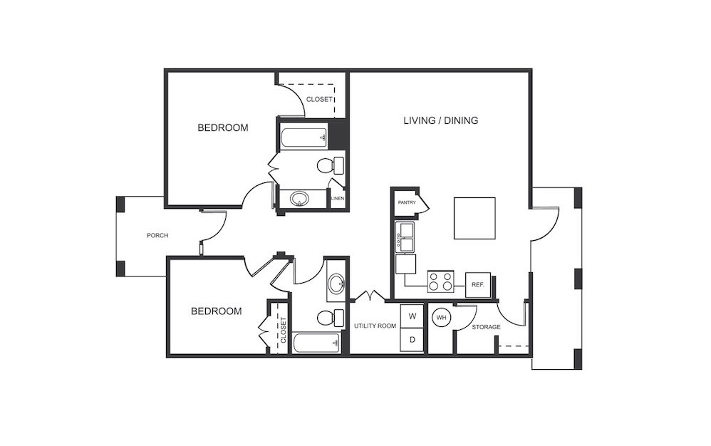 A2 - 1 bedroom floorplan layout with 1 bath and 880 square feet (1st floor 2D)