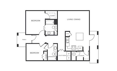 A2 - 1 bedroom floorplan layout with 1 bath and 880 square feet