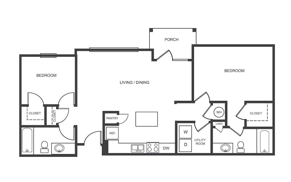 B1 - 2 bedroom floorplan layout with 2 bath and 1040 square feet (1st floor 2D)
