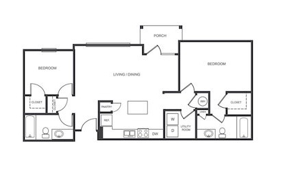 B1 - 2 bedroom floorplan layout with 2 bath and 1040 square feet