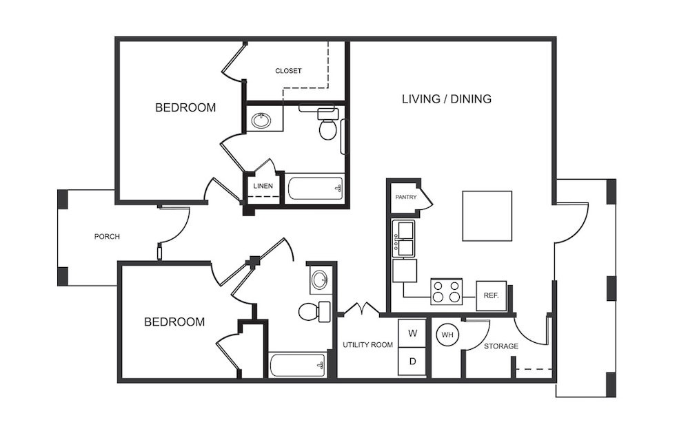 B2 - 2 bedroom floorplan layout with 2 bath and 1088 square feet (1st floor 2D)