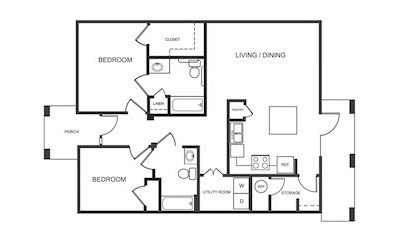 B2 - 2 bedroom floorplan layout with 2 bath and 1088 square feet