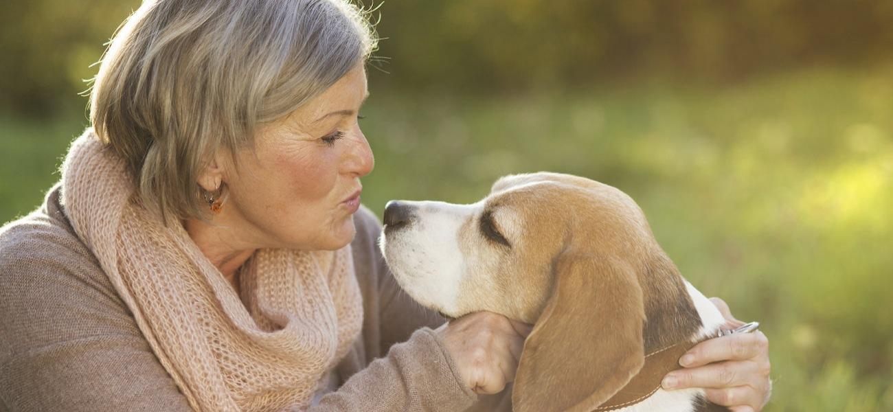 Homepage rotator with senior woman and dog