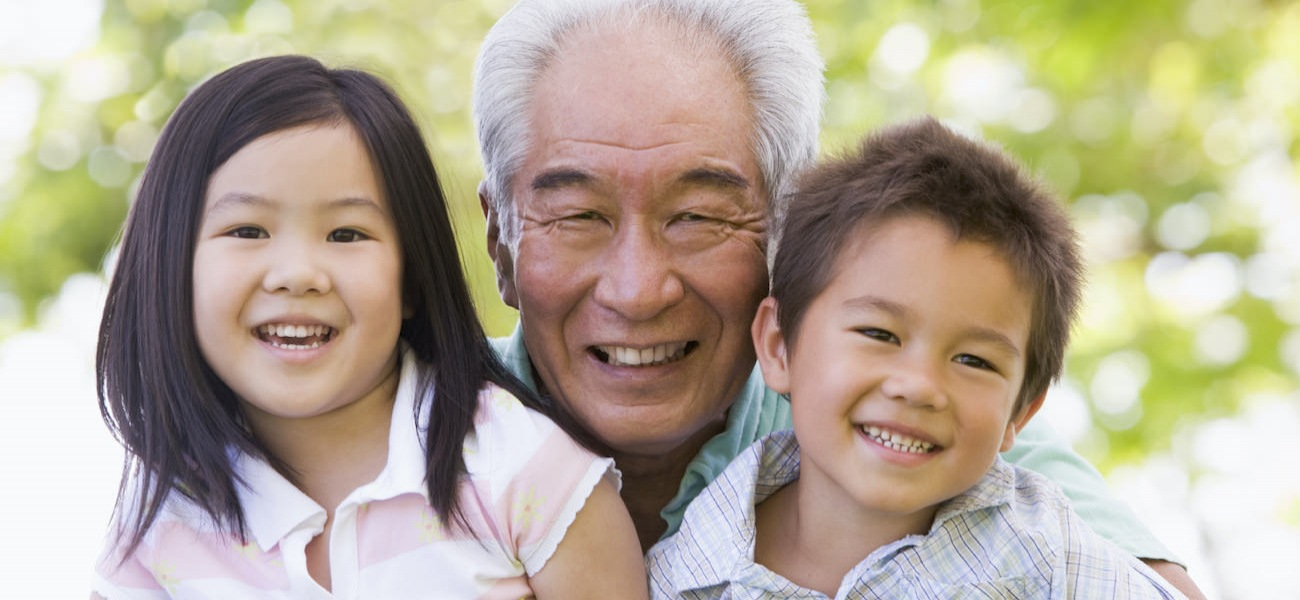 Homepage rotator with senior man and two grandchildren